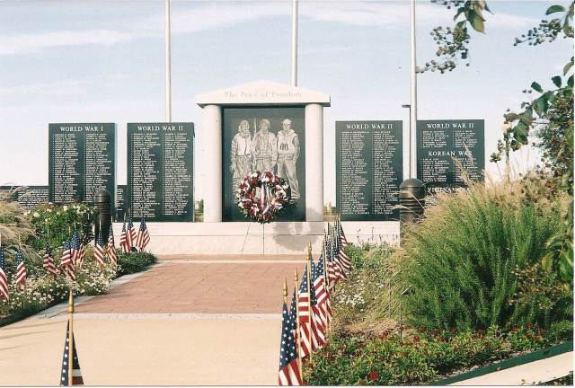 The monument honors veterans of World War I, World War II, Korean War, Vietnam War, and Peacetime Service Located on the grounds of the Ellis County Civic Center  Waxahachie, Texas