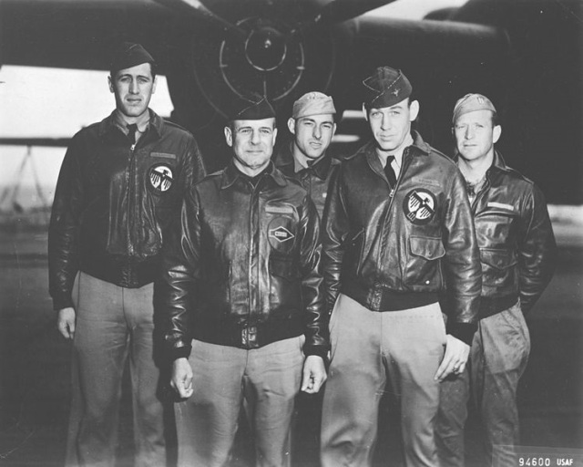 Doolittle Tokyo Raiders, Crew No. 1: 34th Bombardment Squadron, Lt. Col. James H. Doolittle, pilot; Lt. Richard E. Cole, copilot; Lt. Henry A. Potter, navigator; SSgt. Fred A. Braemer, bombardier; SSgt. Paul J. Leonard, flight engineer/gunner. (U.S. Air Force photo) Lt. Cole is one of four surviving Tokyo Raiders remaining today.