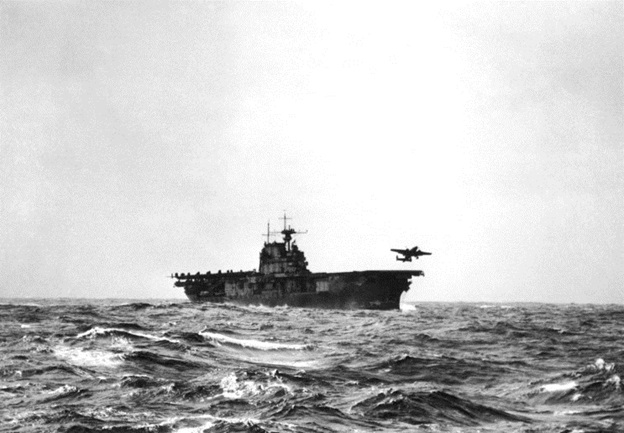 Lt. Col. Doolittle's B-25, the first of 16 bombers taking off from USS Hornet - 18 April 1942 (U.S. Navy photo)