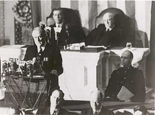 "President Franklin D. Roosevelt delivers his ""Day of Infamy"" speech to Congress December 8, 1941 (U.S. Government - U.S. Archives)"
