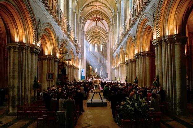 Veterans and dignitaries gather to hear the D-day service at Bayeux cathedral in France.  Photograph: Reuters