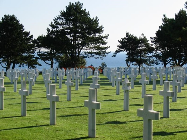 WWII cemetery and memorial honoring American troops who died in Europe during WWII. Colleville-sur-Mer, Normandy, France.