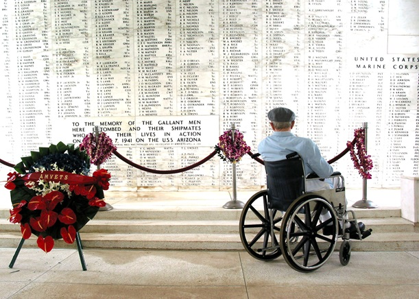 "USN Pearl Harbor Survivor, Bill Johnson (January 20, 2004) Wall of Casualties – USS Arizona Memorial, Pearl Harbor, Hawaii.   ""To the memory of the gallant men here entombed and their shipmates  who gave their lives in action on December 7, 1941 on the USS Arizona"" (U.S. Navy Photo)"
