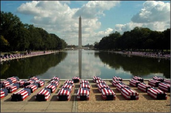 Flag-draped American caskets on National Mall
