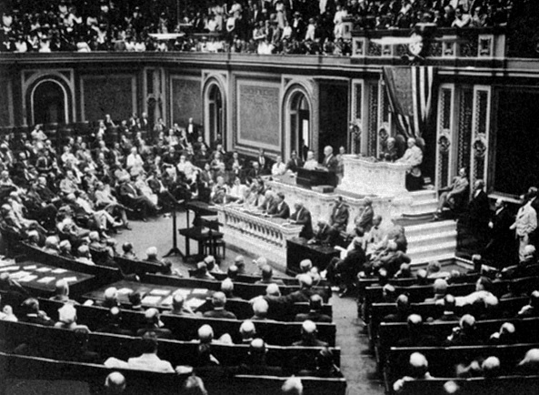 President Wilson addresses Congress, announcing the break in official relations with Germany on 3 February 1917.