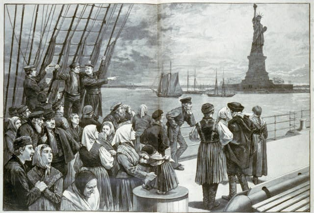 Immigrants on the steerage deck of an ocean liner passing the Statue of Liberty. Library of Congress Prints and Photographs Division