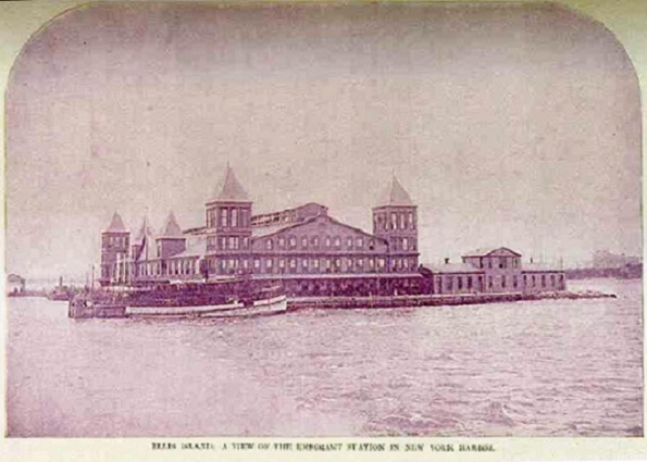 Initial Ellis Island Immigrant Station Opened on January 1, 1892.  Built of wood, it was completely destroyed by fire on June 15, 1897.