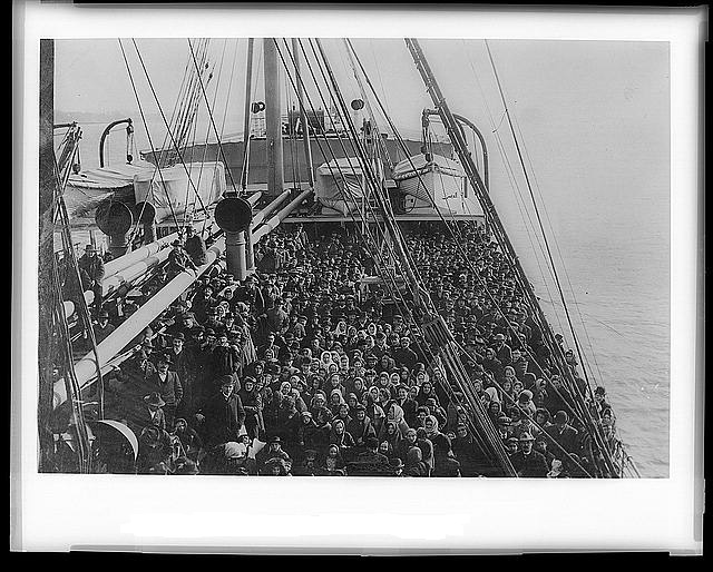 Immigrants on an Atlantic liner bound for New York and the United States Library of Congress Prints and Photographs Division