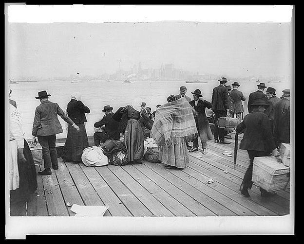 Immigrants waiting for transfer to Ellis Island, October 30, 1912 Library of Congress Prints and Photographs Division