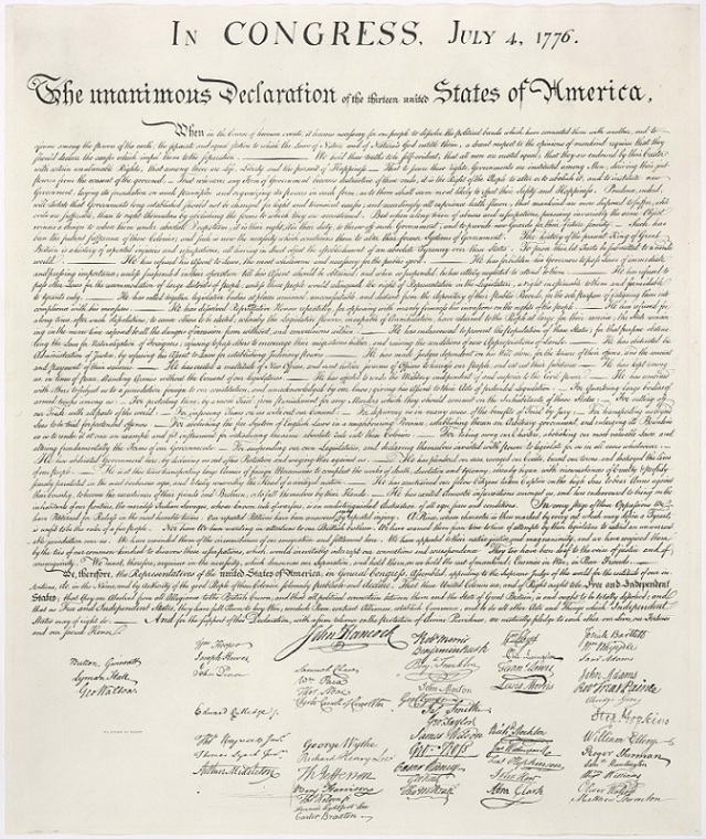 United States Declaration of Independence Signed by the Continental Congress July 4, 1776