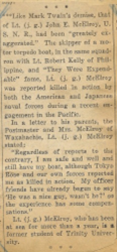 Reporting LTJG John McElroy KIA Waxahachie Daily Light November 4, 1943