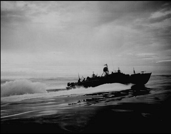 PT boat heads out for a night's patrol
