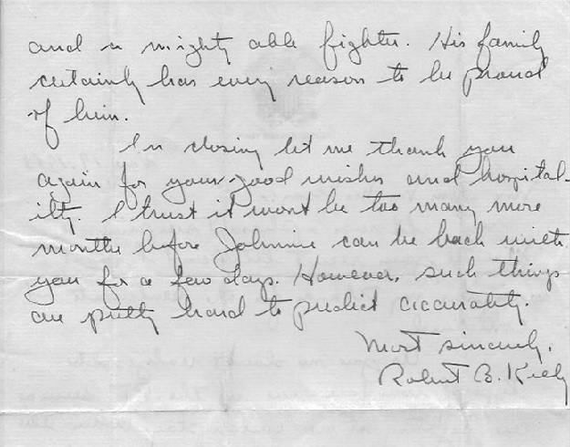 Ron 9 Squadron Commanding Officer Robert B. Kelly Letter regarding LTJG John McElroy's PT service during WWII