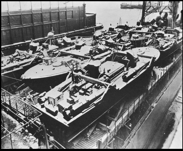 Squadron Nine PT boats loaded on SS White Plains for shipment to Panama New York, December 1942 National Archives Photo