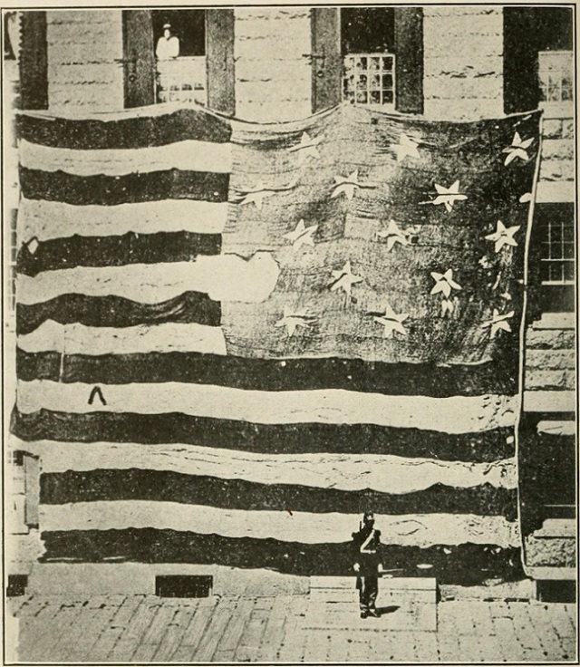 Flag flown over Fort McHenry during 1814 Bombardment by the British. September 13-14, 1814