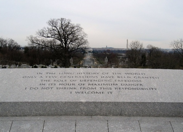 Quote by John F. Kennedy Overlooking Arlington National Cemetery