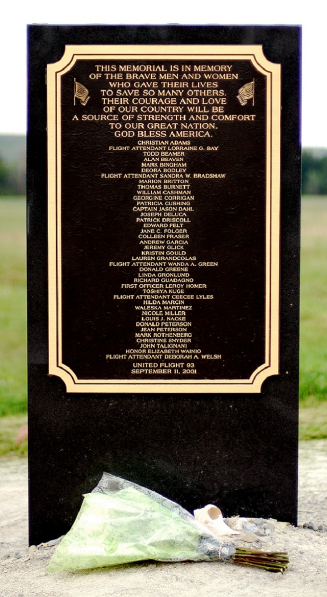 Flight 93 Memorial Plaque near Shanksville, PA