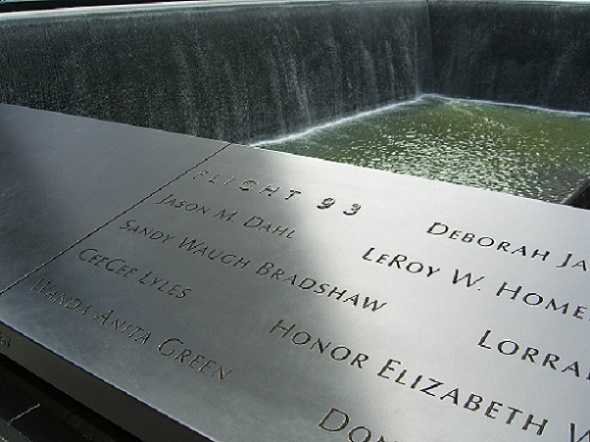 Panel S-67 of the National September 11 Memorial's South Pool, one of two panels that bear the names of United 93's crew and passengers[129] Photo by Luigi Novi