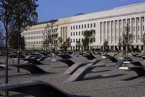 The Pentagon Memorial honoring the 184 people killed at the Pentagon and on American Airlines flight 77, flown into the building during the September 11, 2001 terrorist attacks, dedicated on September 11, 2008. Photo by Mass Communication Specialist 1st Class Brien Aho