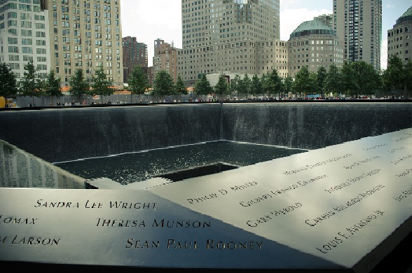 A reflecting pool on the grounds of the World Trade Center, adjacent to the 9/11 Museum, New York City.