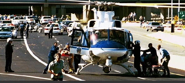 A rescue helicopter uses Washington Boulevard outside the Pentagon to evacuate injured personnel after the terrorist attack on the building on September 11, 2001.