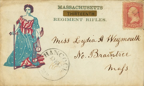 1861-1865 American Civil War envelope with postmark and stamp
