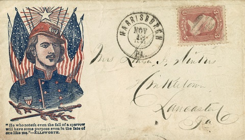 1861-1865 american civil war envelope with postmark and postage stamp