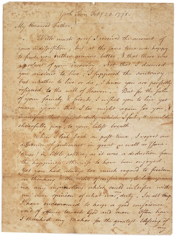 Letter from Timothy Pickering Jr. to Timothy Pickering Sr., February 23, 1778. (Gilder Lehrman Collection)