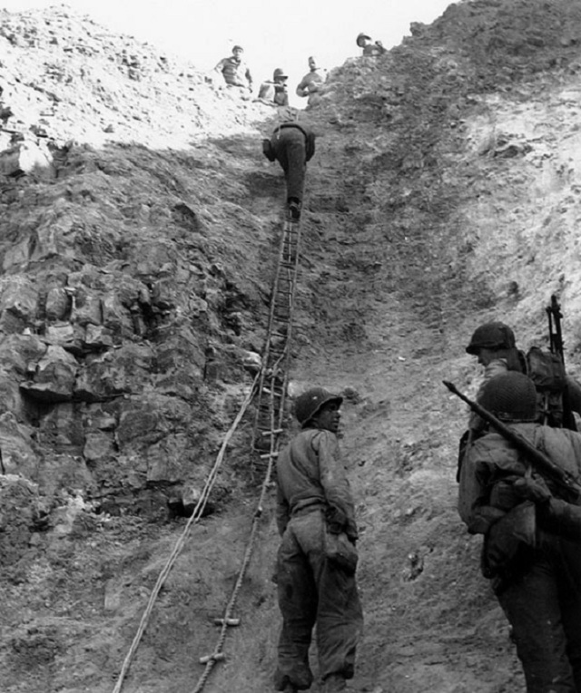 US 2nd Ranger Battalion scaling Pointe du Hoc at Normandy landings on D-Day